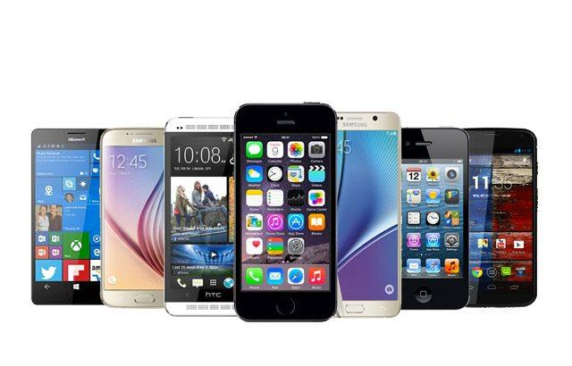 smartphones of various makes and models