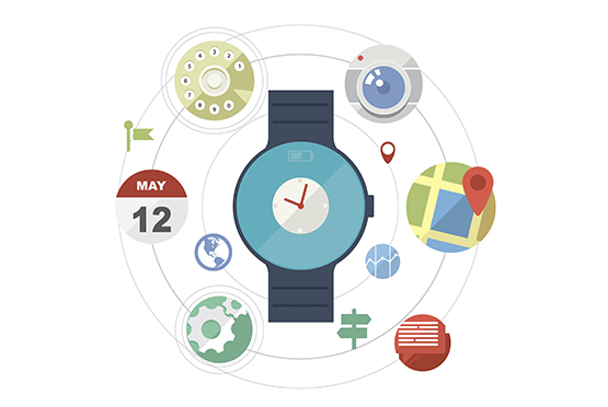 Animated Apple watch surrounded by animate icons.