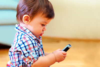 Child playing with a smartphone