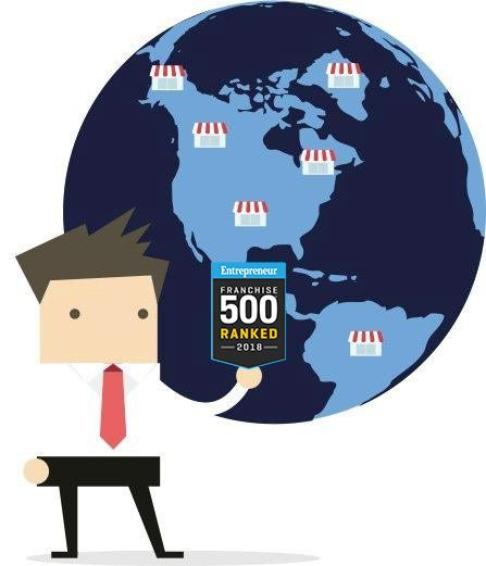 franchisee cartoon holding franchise 500 seal