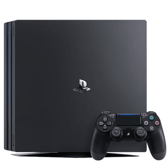 broken playstation 4 pro console with controller