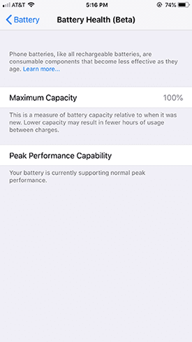 battery health settings on iphone