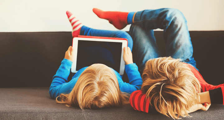 children using tablet with parental controls