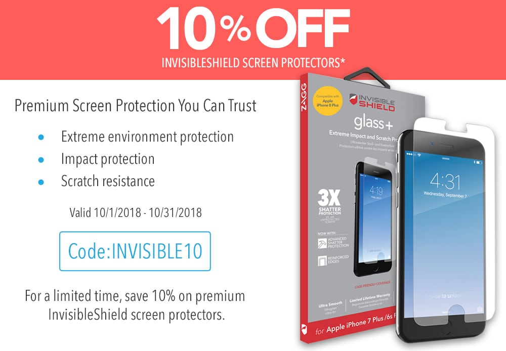 savings on invisibleshield screen protectors in october 2018