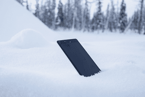 smartphone in snow and cold weather