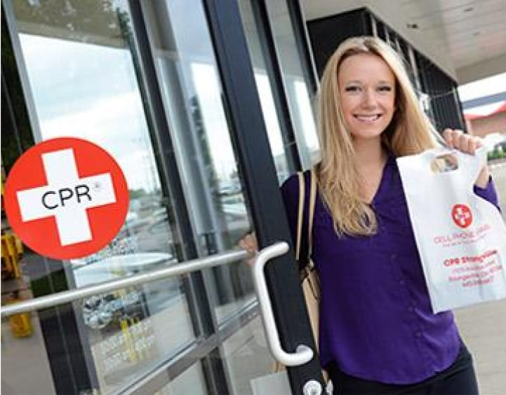 happy woman leaving CPR store